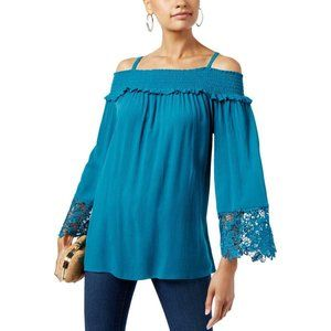 NWT INC 1X Teal Cold Shoulder Top Plus Bell Sleeve